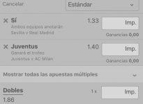 Sevilla - Real Madrid  +Juventus - Milan